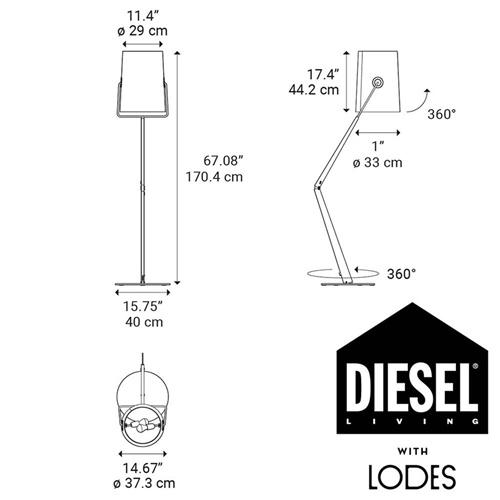 Diesel Living with Lodes vloerlamp Fork grijs/antraciet