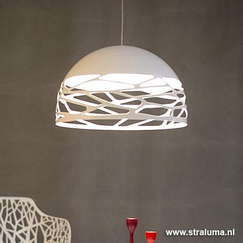 Hanglamp koepel wit 60cm 3xe27 straluma for Lampen eettafel design