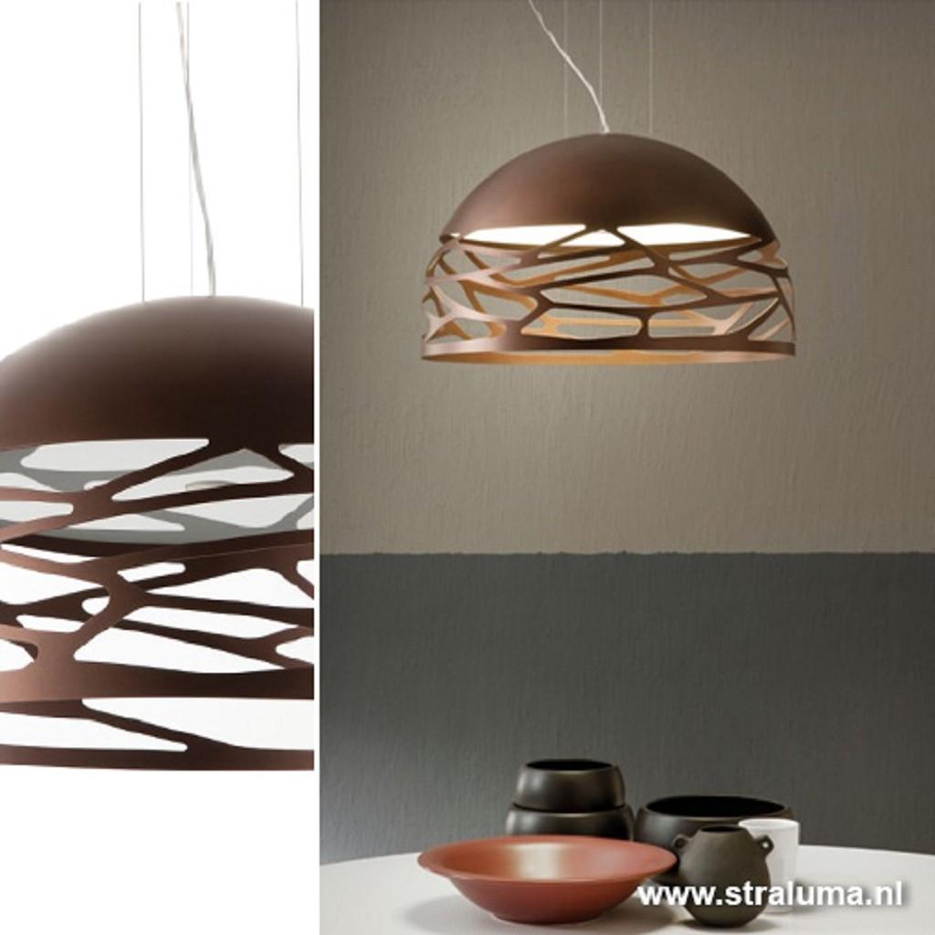Hanglamp koepel brons 60cm 3xe27