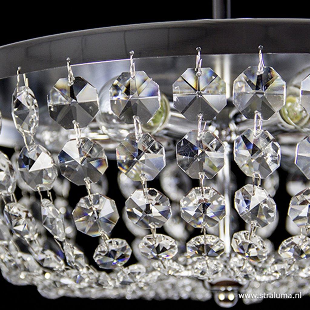 Plafondlamp 6-L kristal/chroom