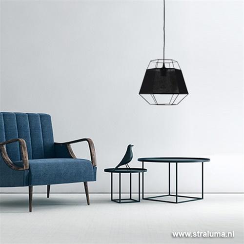 Frame zwarte hanglamp 'ingebouwde' kap