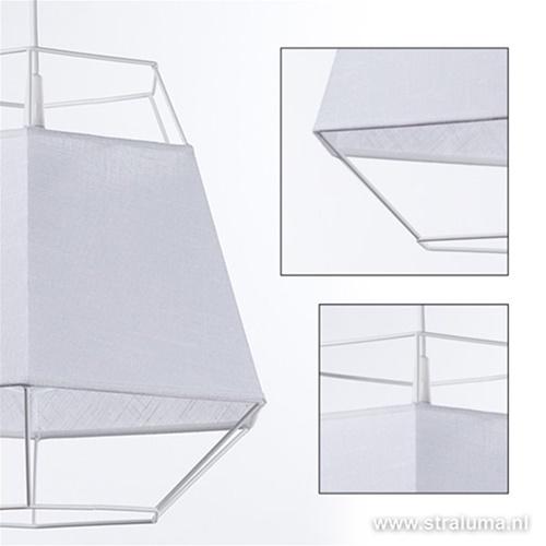 Witte hanglamp draad met rand van stof