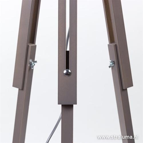 Landelijke driepoot lamp hout en kap