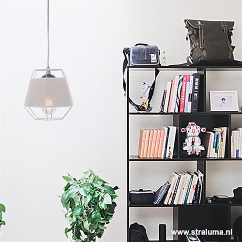Kleine grijze hanglamp draad met stof