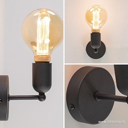 *Wandlamp basic boog klein zwart