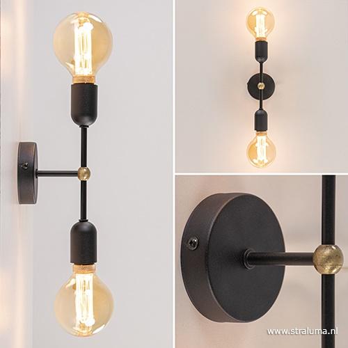 Strak klassieke wandlamp zwart gang