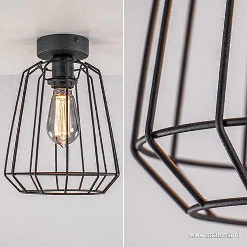 Plafondlamp taps draad zwart