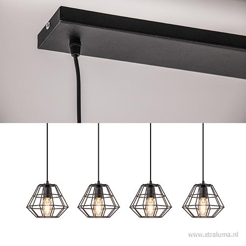 Moderne draad hanglamp eettafel zwart