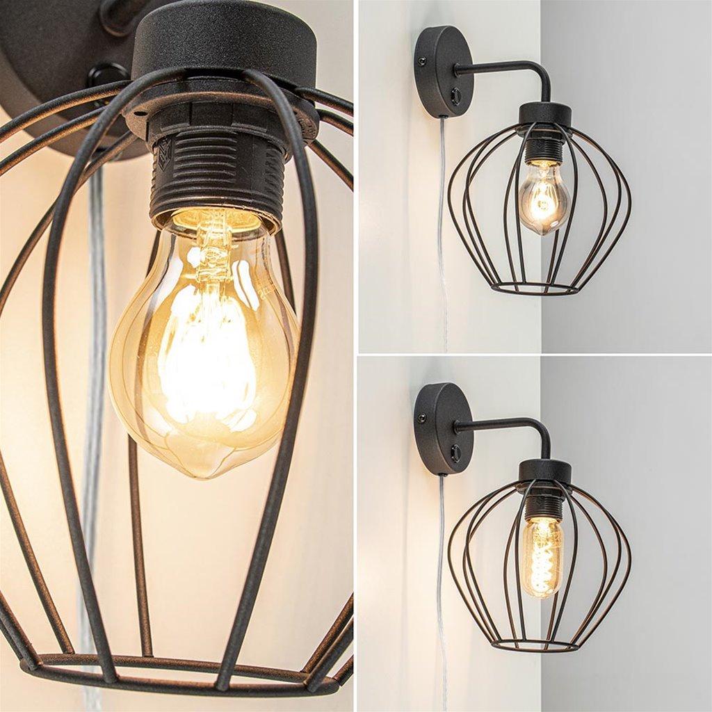 Draad wandlamp zwart Korf