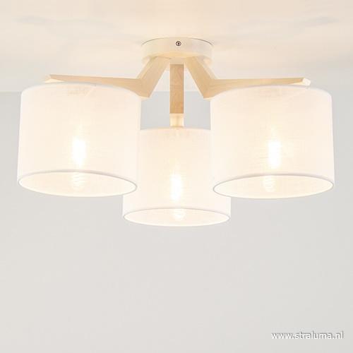 Houten plafondlamp met kappen wit