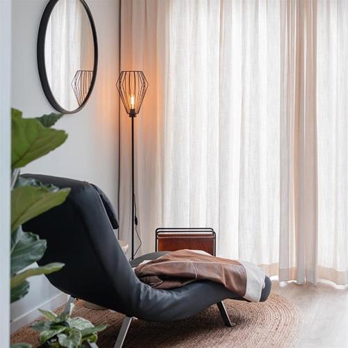 Draad vloerlamp mat zwart Scandinavisch