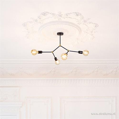Klassiek-moderne plafondlamp zwart/brons