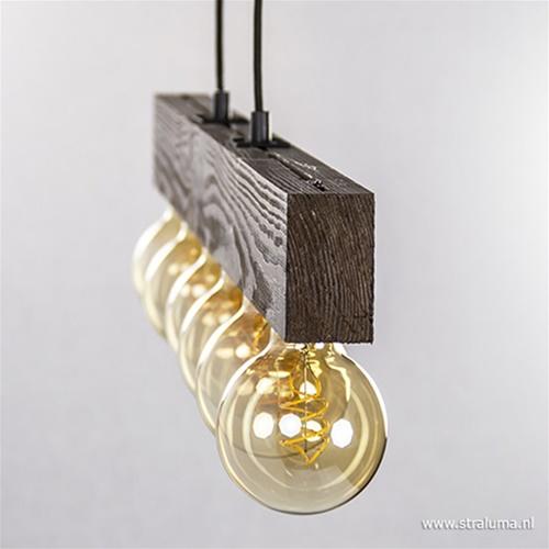 Bruine hanglamp houten balk excl. LED