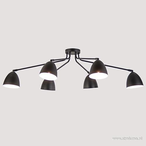 Plafondlamp groot zwart 6-lichts