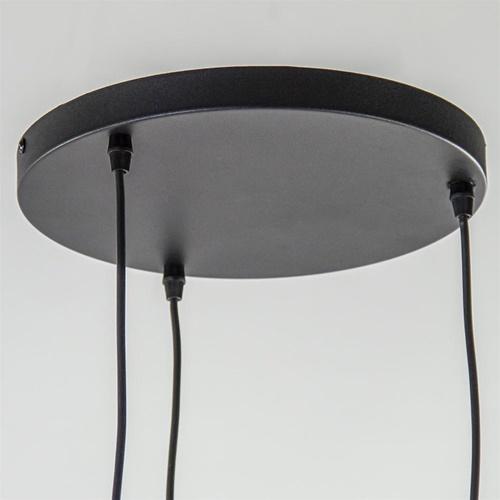 Plafondplaat rond zwart 3-lichts pendel ex.lb