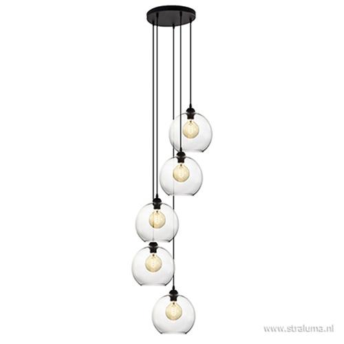 5-Lichts hanglamp zwart met helder glas