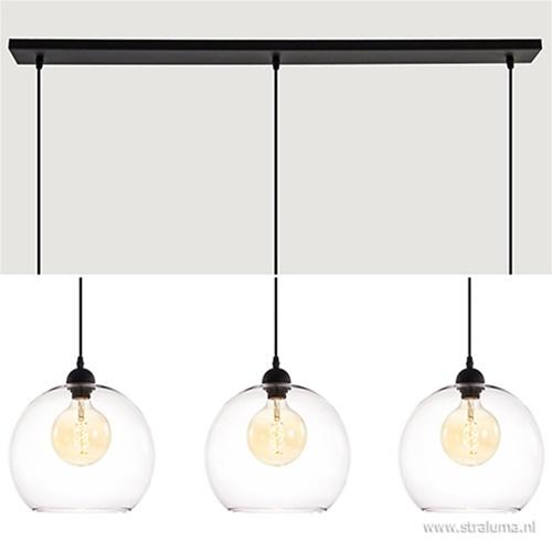 Moderne 3-lichts hanglamp helder glas