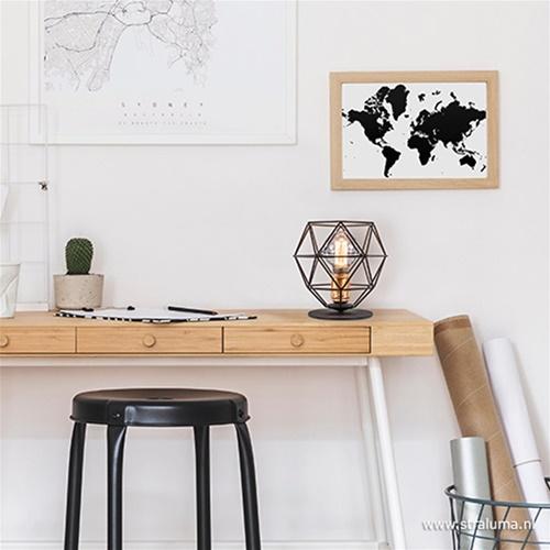 Scandinavische tafellamp zwart - koper