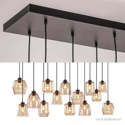 Hanglamp 14-lichts 160cm zwart/amber