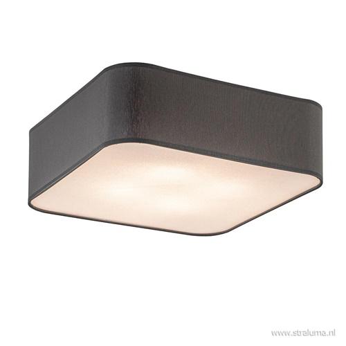 Plafondlamp vierkant stof grijs 40x40cm