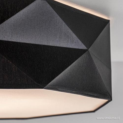 Zwarte plafondlamp met moderne kap 52 cm
