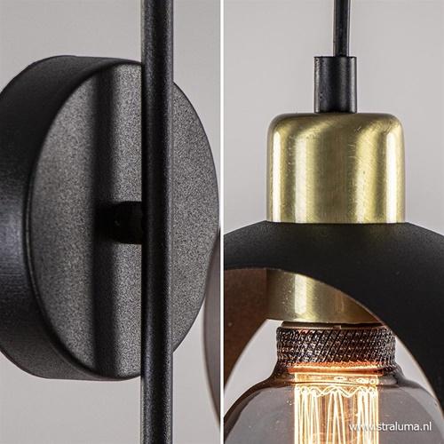 Chique wandlamp zwart met brons