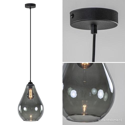 Hanglamp zwart met smoke druppelglas