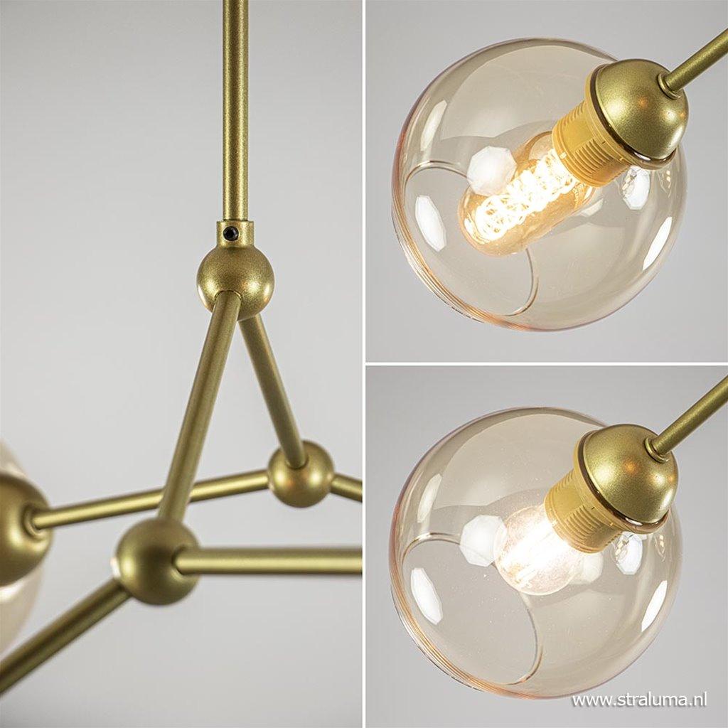 *Plafondlamp 4-arms matgoud/amber glas
