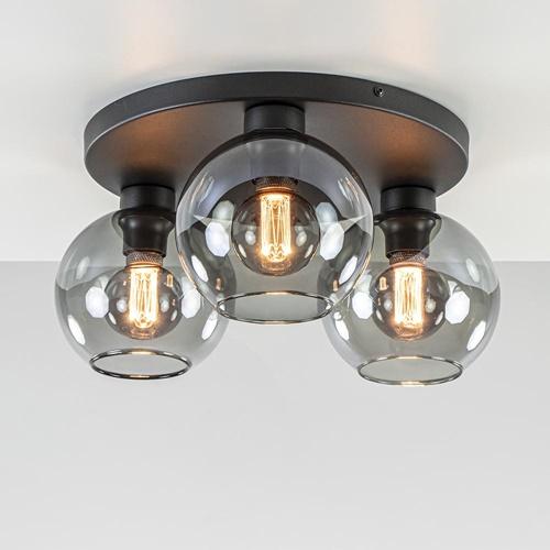 Plafondlamp 3L zwart  bolglas smoke