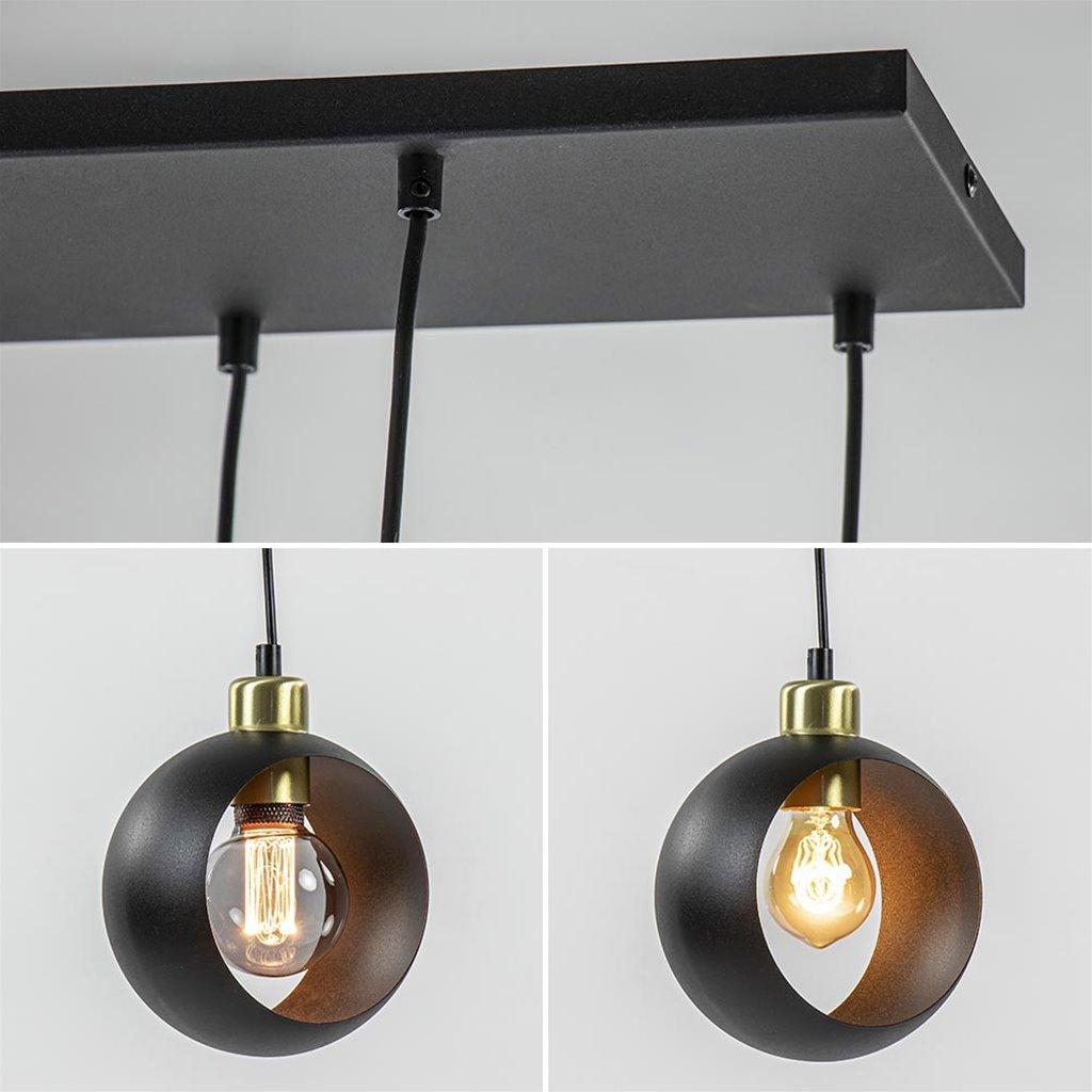 Speelse 6-lichts hanglamp zwart met goud
