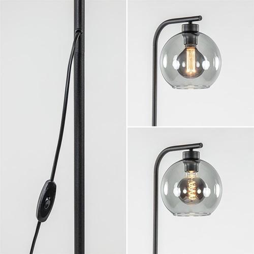 Zwarte vloerlamp met smoke glazen bol 20 cm