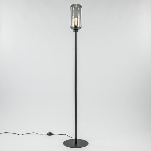Strak klassieke vloerlamp met smoke glazen kap