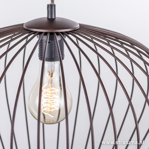 landelijk draad hanglamp bruin eettafel straluma