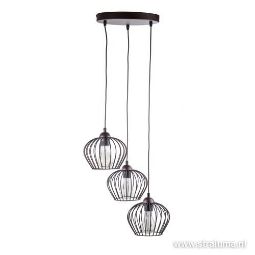 landelijke draad hanglamp bruin 3 lichts straluma