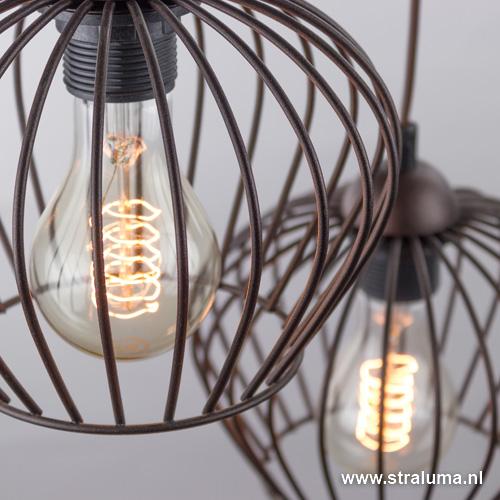 Landelijke draad hanglamp bruin 3-licht | Straluma