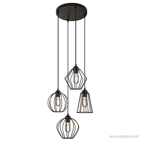 draad hanglamp zwart hoogte verschillend straluma