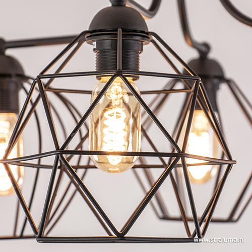 Speelse draad plafondlamp zwart Diamond | Straluma