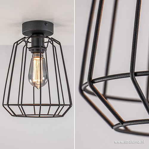 Zwarte plafondlamp draad slaapkamer | Straluma
