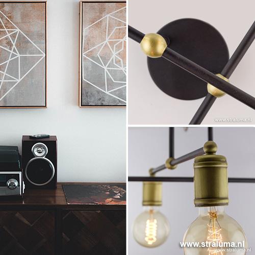 Landelijke plafondlamp brons woonkamer | Straluma