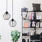 Zwarte draad hanglamp hoekig klein