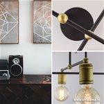 *Landelijke plafondlamp brons woonkamer