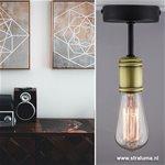 *Landelijke plafondlamp zwart-brons wc
