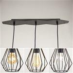 *Trendy zwarte draad hanglamp 3-lichts