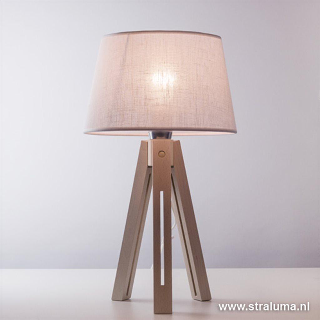 Beach blank hout tafellamp Lorenzo
