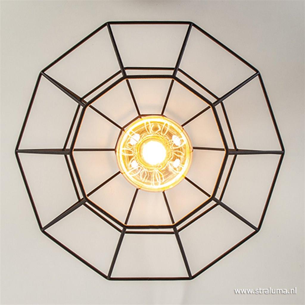 Plafondlamp diamond groot draad zwart