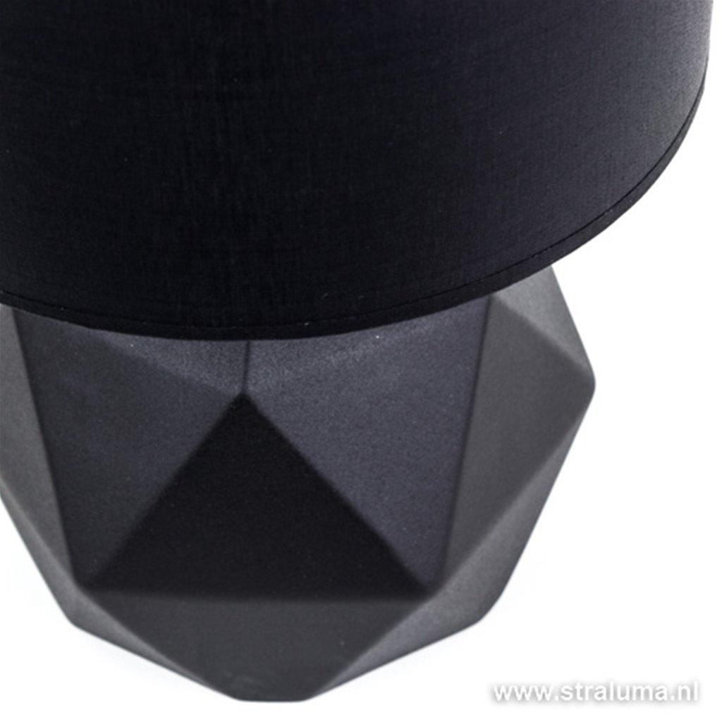 Zwarte vaaslamp-tafellamp stenen voet