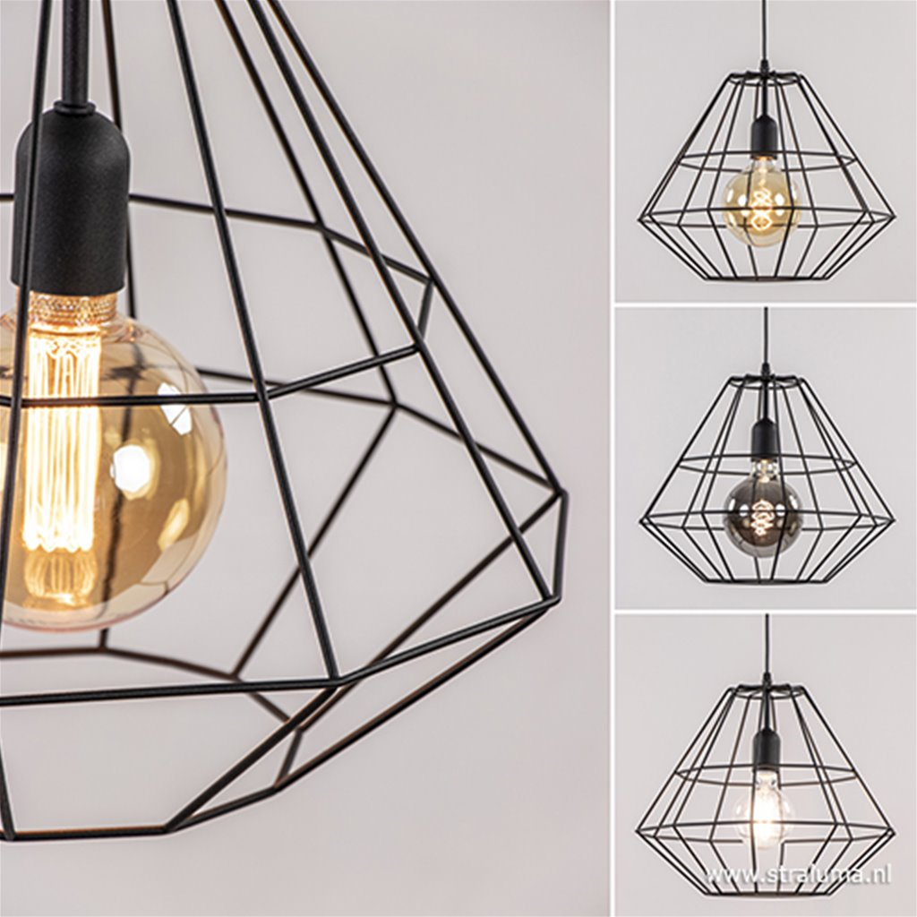 Hanglamp draad diamant zwart