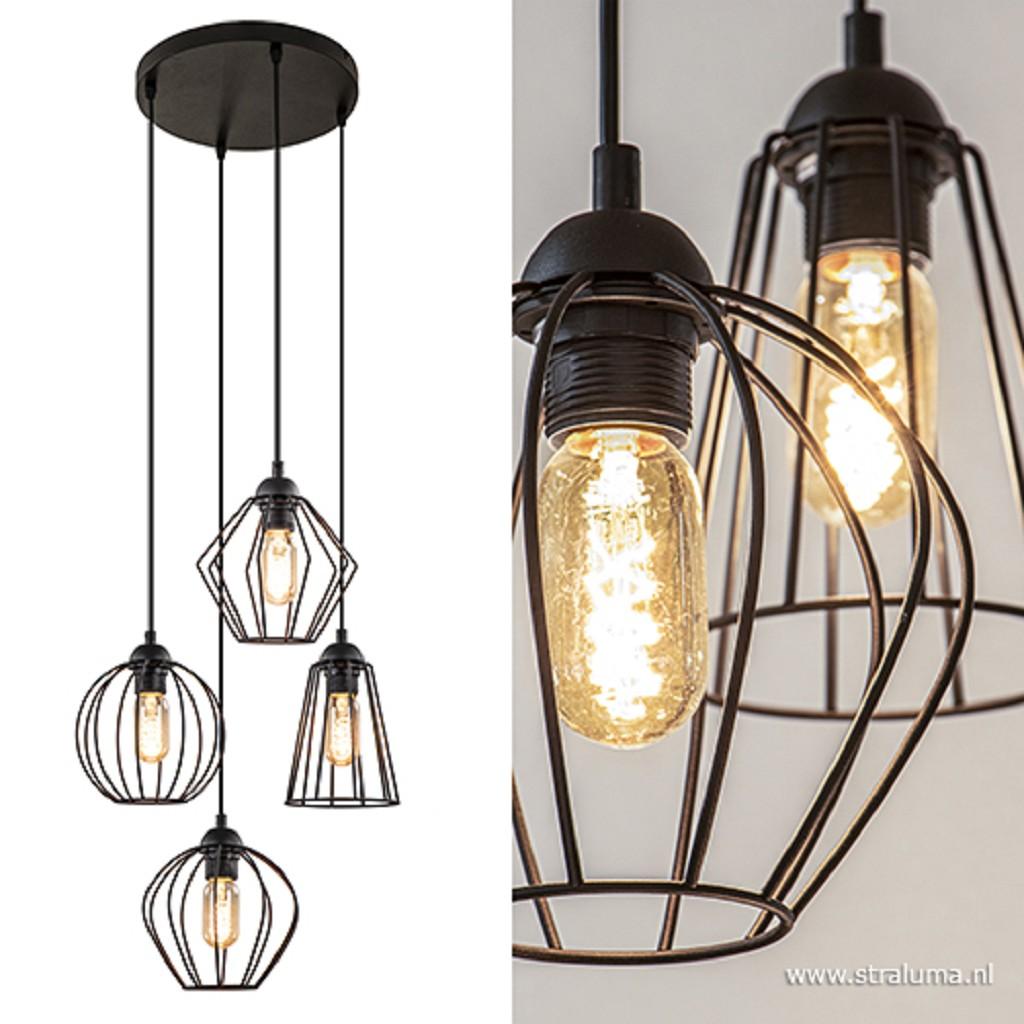 Draadhanglamp zwart hoogte verschillend