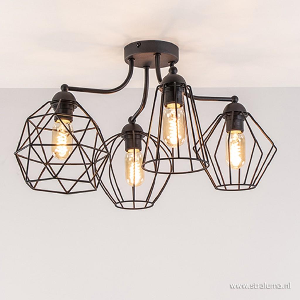 Speelse draad plafondlamp zwart Diamond