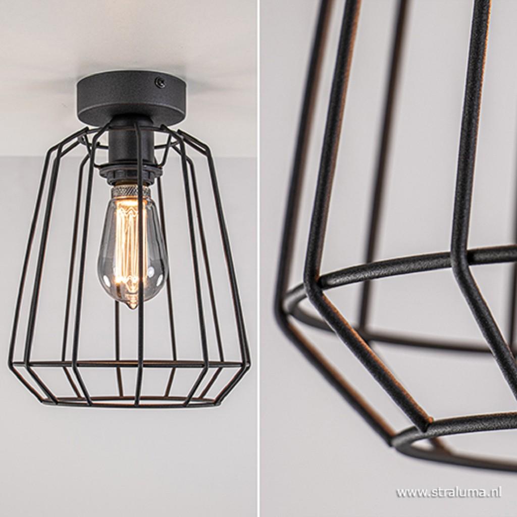 Zwarte plafondlamp draad  slaapkamer